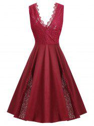Eyelash Lace Panel Plus Size V Neck Party Dress -