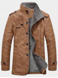 Epaulet Design Single Breasted Stand Collar Coat -