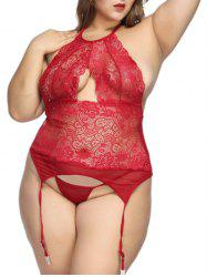 Plus Size Sheer Lace Panel Babydoll with Garter -