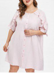 Ruffle Insert Short Sleeve Plus Size Shift Dress -