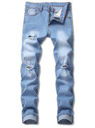 Scratched Ripped Faded Jeans -