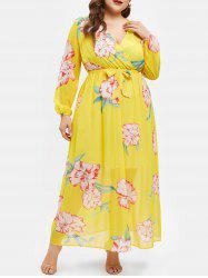 Plus Size High Waist Printed Belted Dress -