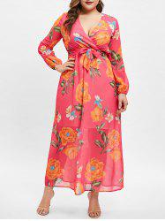 Wrap Floral Print Long Sleeve Plus Size Dress -