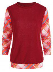 Long Sleeve Checked Panel Top -