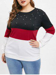 Color Block Faux Pearls Plus Size Tee -