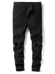 Solid Color Knee Ripped Hole Casual Jeans -