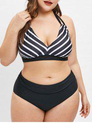 Striped Plus Size Halter Tied Bikini Set -