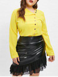 Turn Down Collar Plus Size Button Detail Blouse -