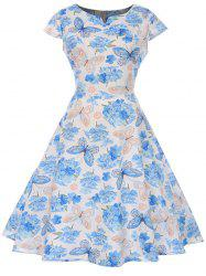Butterfly and Flower Print A Line Vintage Dress -