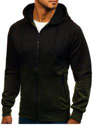 Top Ombre Spot Ink Print Full Zip Hoodie -