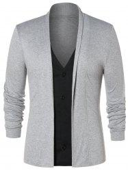 Faux Twinset Button Up Cardigan -