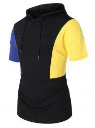 Panel Short Sleeve Hooded Top -
