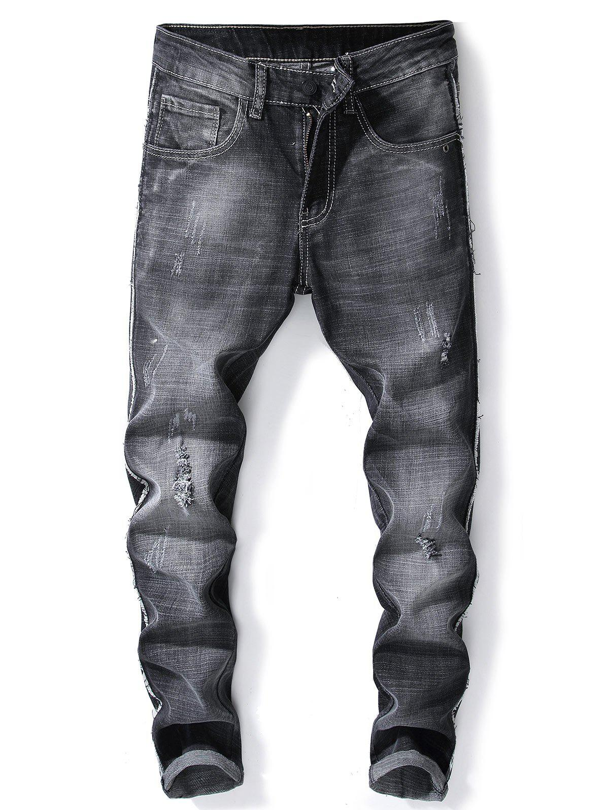 Shop Side Fray Scratch Ripped Faded Slim Fit Jeans