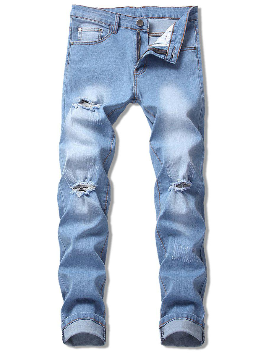 Discount Scratched Ripped Faded Jeans