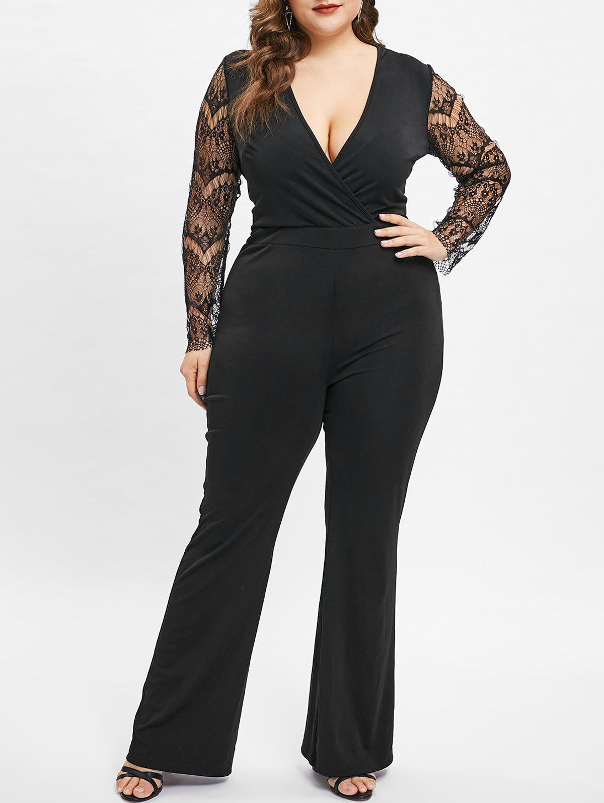 f3e726bf2b0 51% OFF   2019 Plus Size Lace Long Sleeves V Neck Jumpsuit
