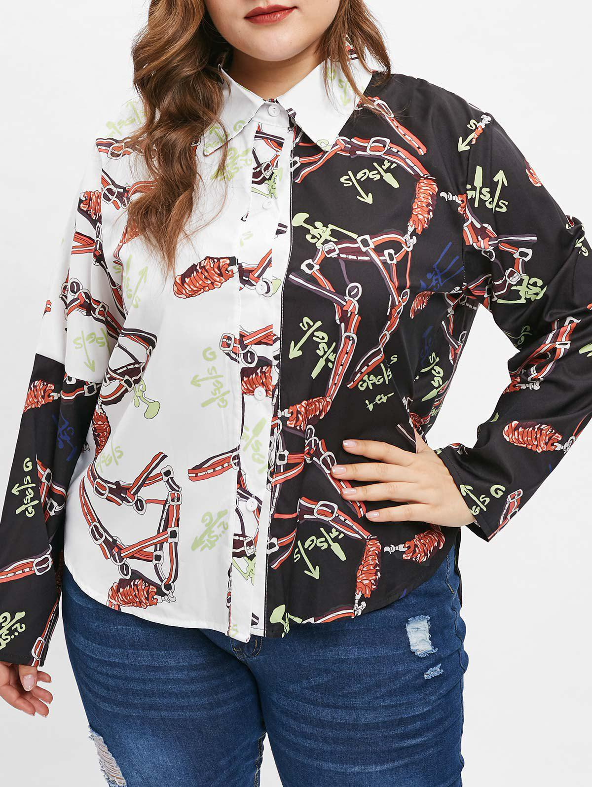 Buy Plus Size High Low Graphic Shirt