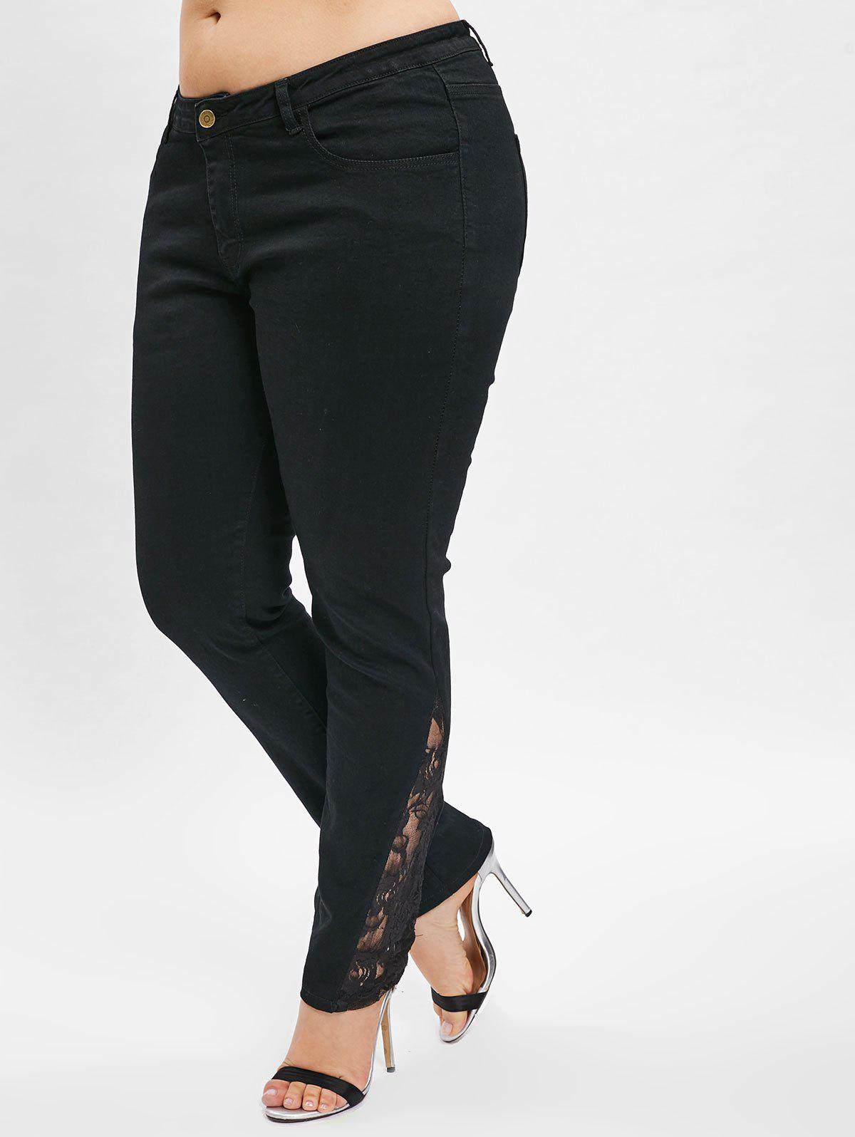 New Lace Panel Plus Size Skinny Jeans