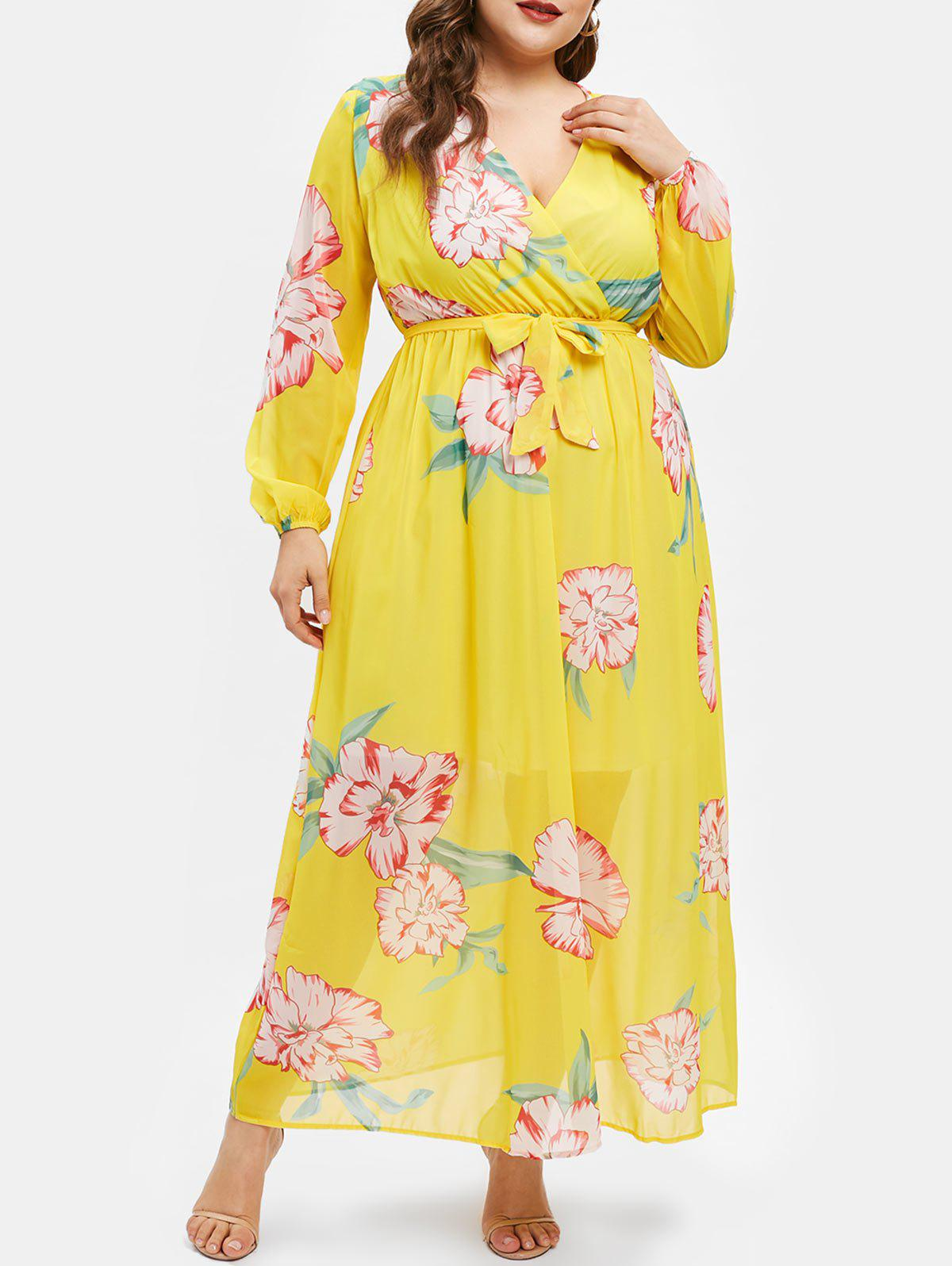 Chic Plus Size High Waist Printed Belted Dress