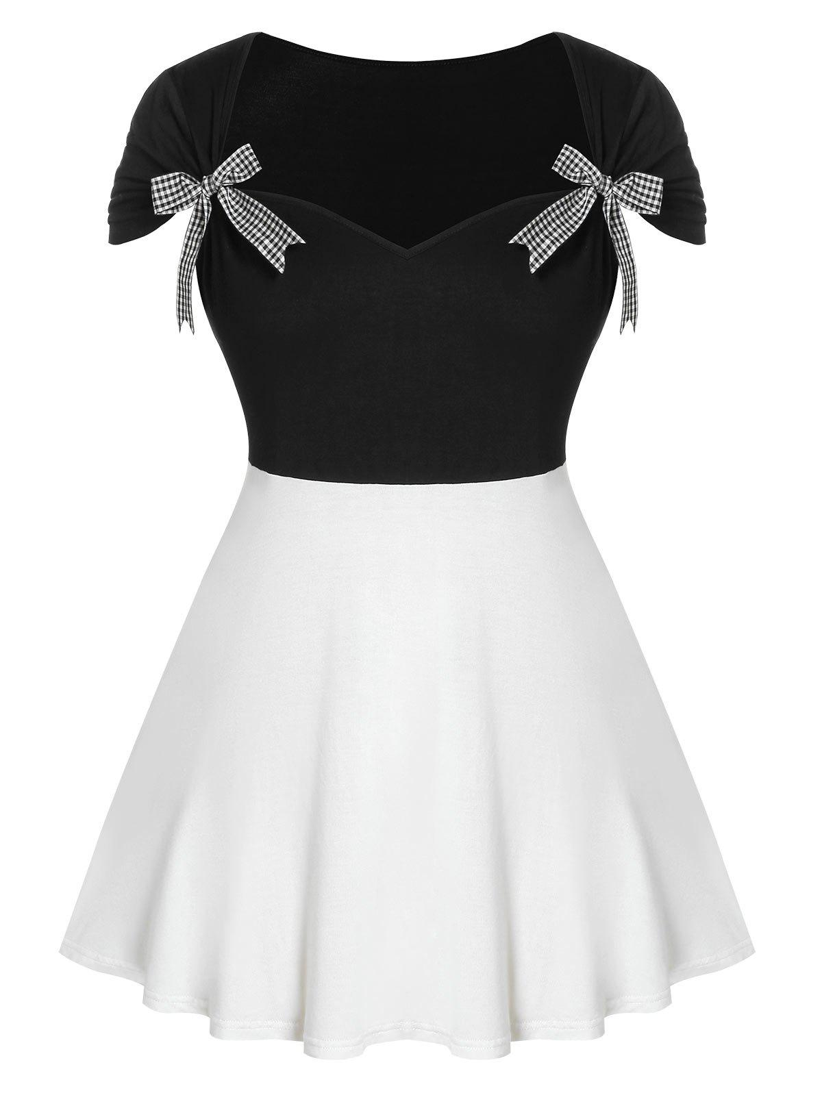 Outfits Bowknot Embellished Plus Size Color Block T-shirt