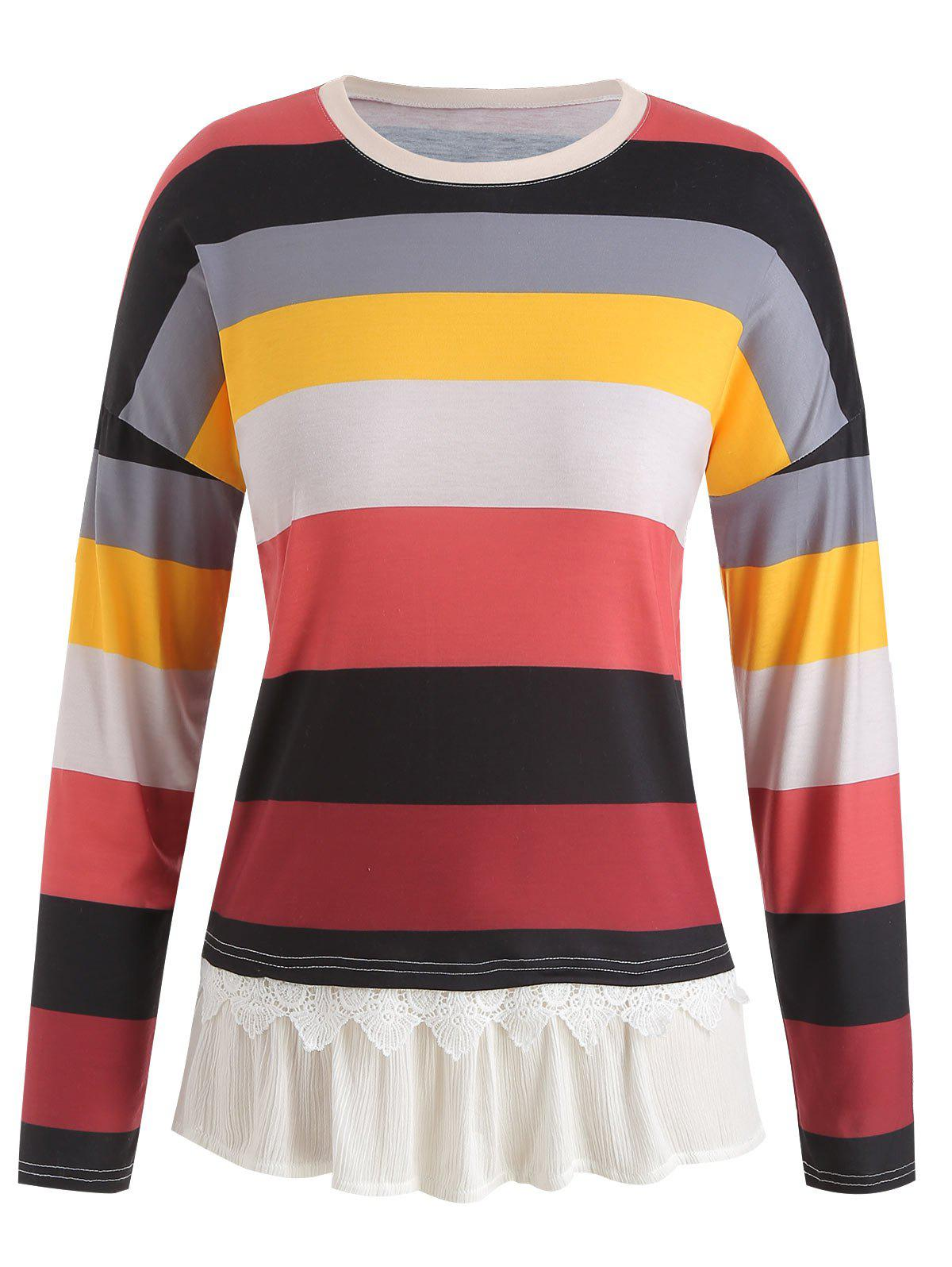 Online Color Block Striped Plus Size Tunic Tee