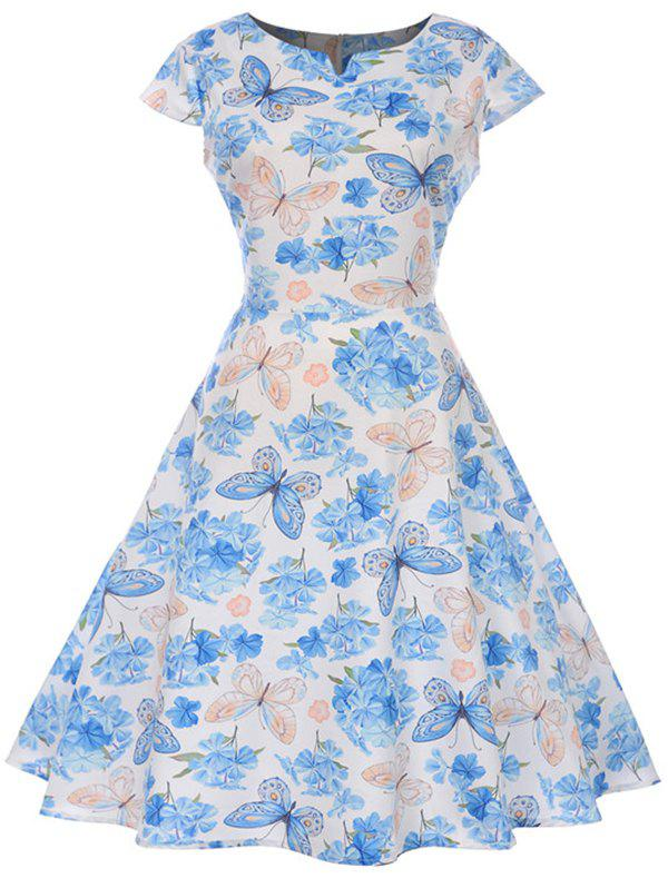 Shops Butterfly and Flower Print A Line Vintage Dress