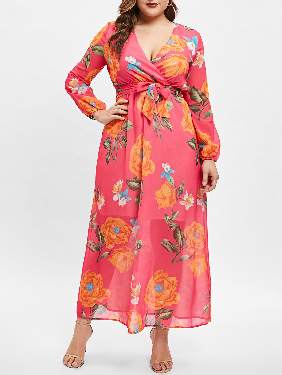 Trendy Wrap Floral Print Long Sleeve Plus Size Dress
