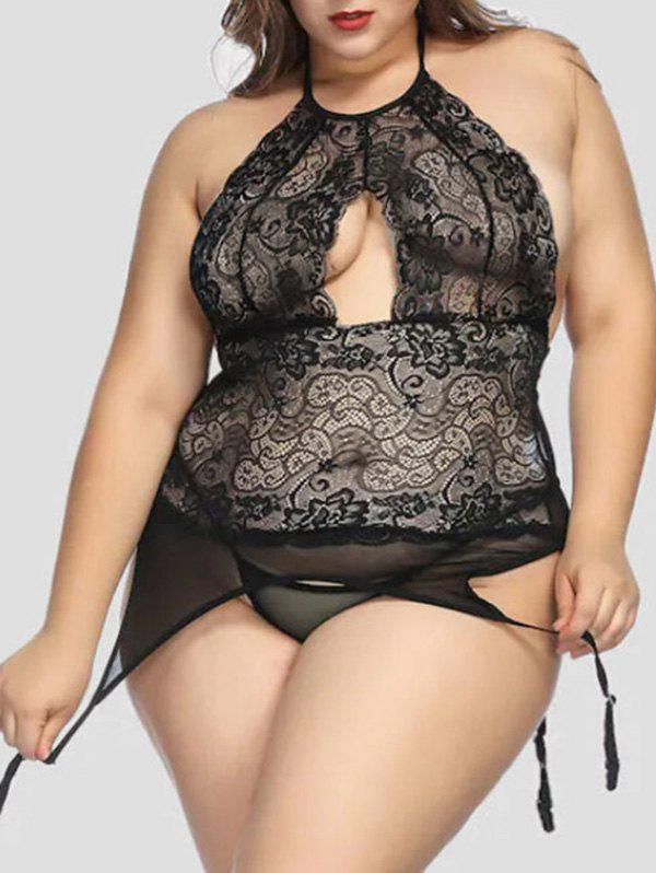 Outfit Plus Size Sheer Lace Panel Babydoll with Garter