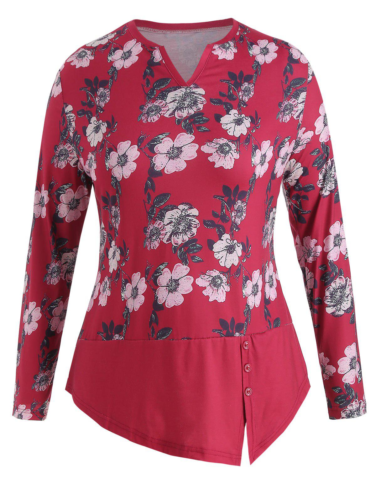 Best Flower Print Plus Size Tunic Tee
