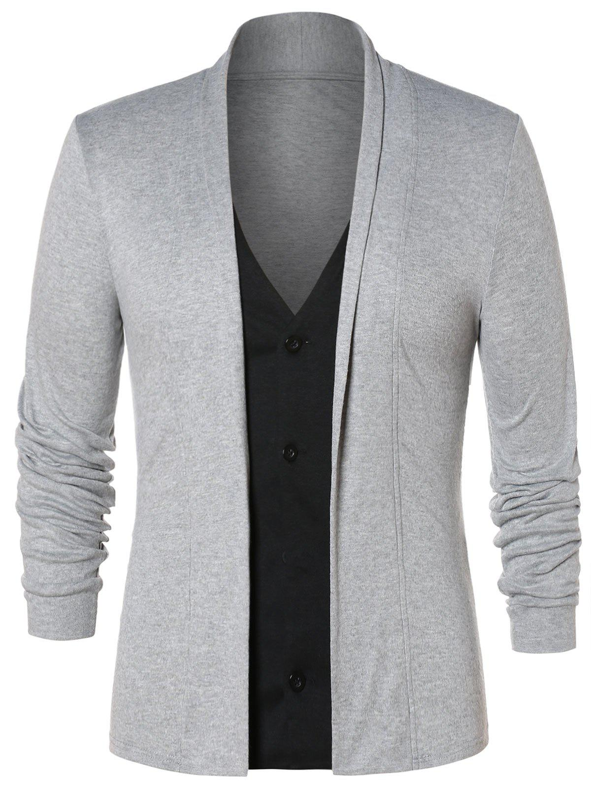 Chic Faux Twinset Button Up Cardigan