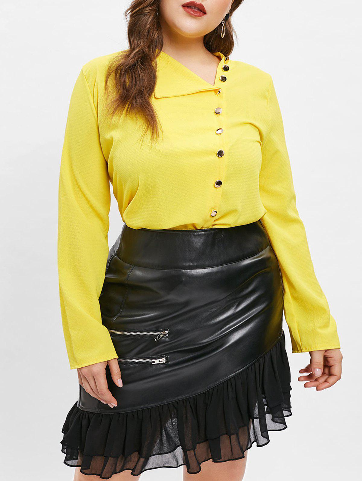 Outfits Turn Down Collar Plus Size Button Detail Blouse