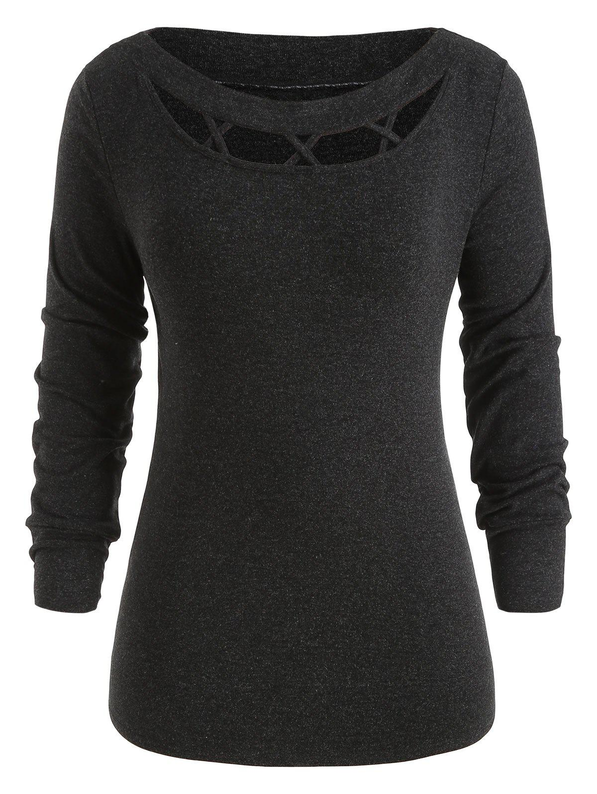 Shop Cross Hollow Out Plus Size Knit Sweater