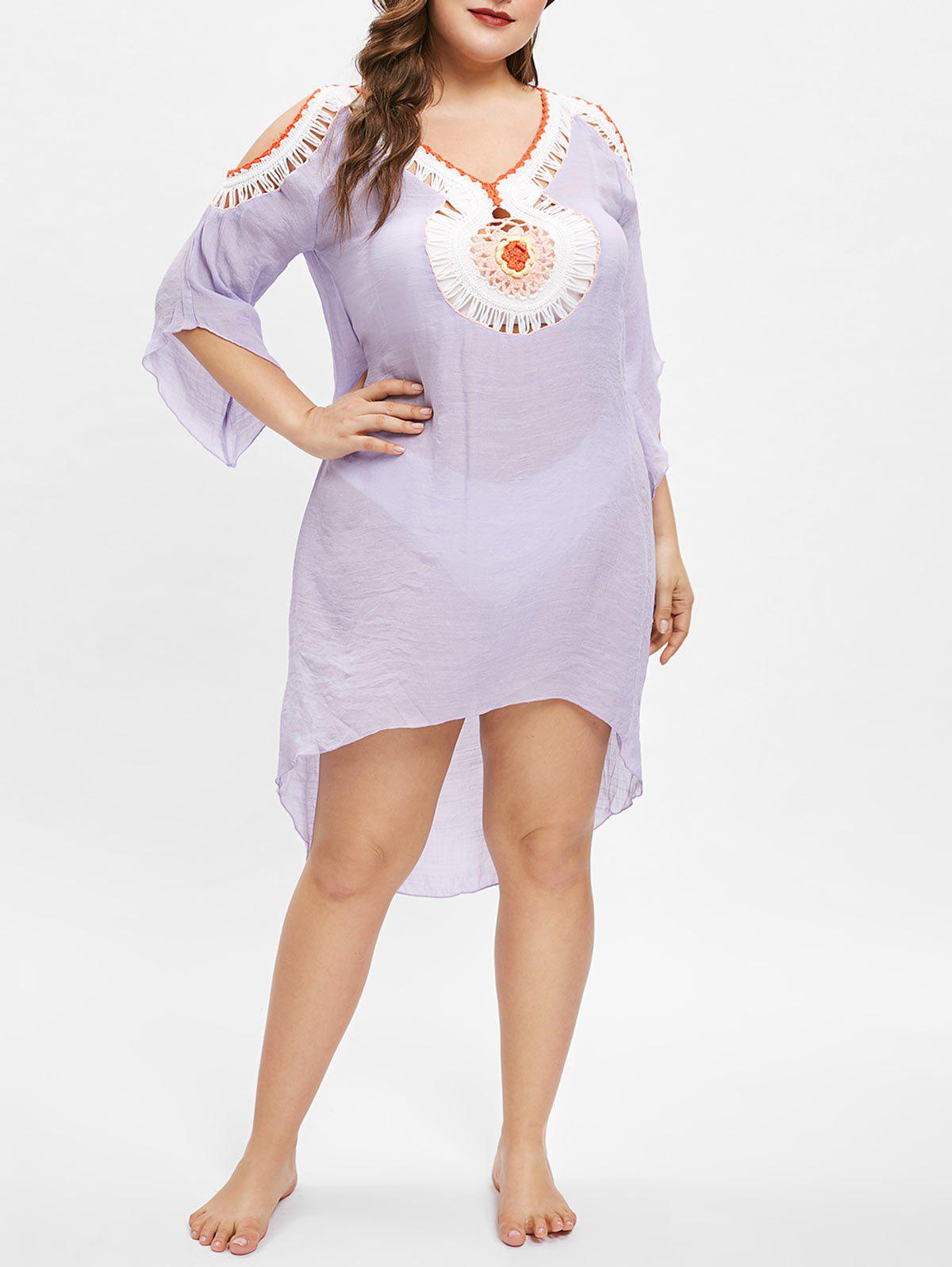 26 Off See Through Plus Size Crochet Cover Up Dress Rosegal