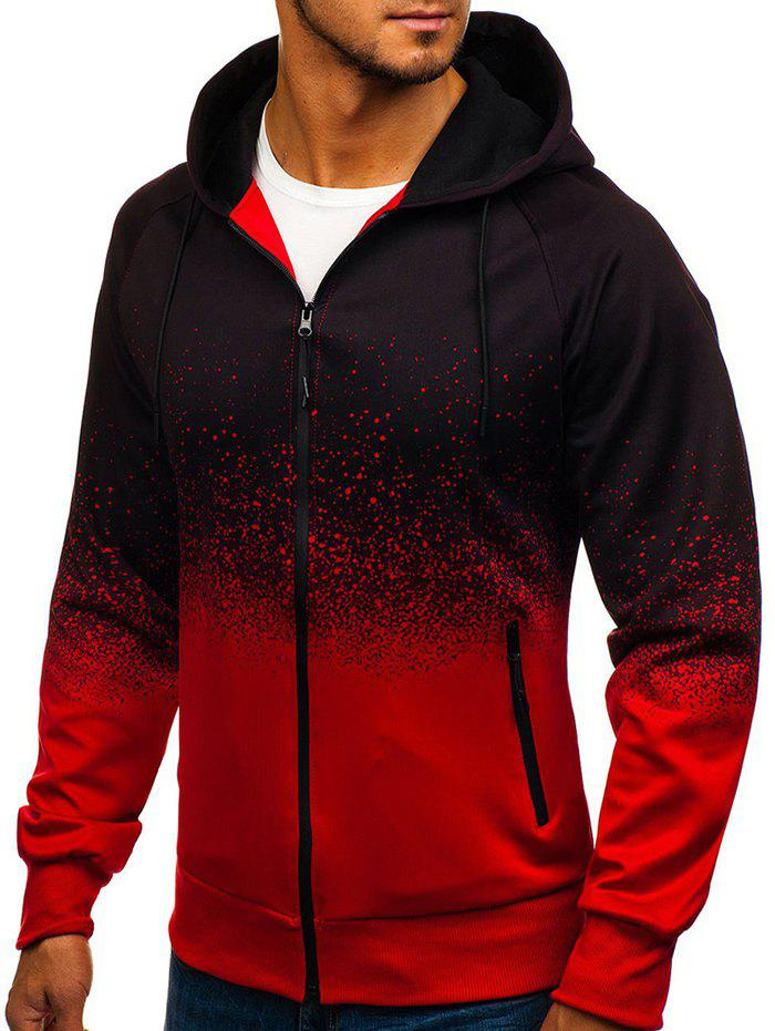 Outfits Top Ombre Spot Ink Print Full Zip Hoodie
