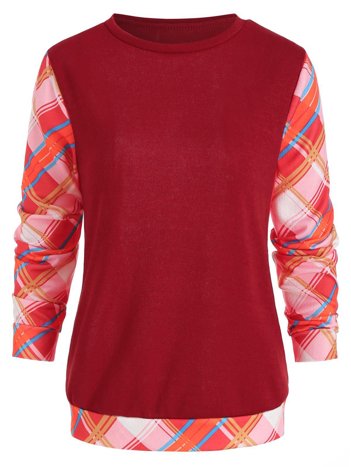 Cheap Long Sleeve Checked Panel Top