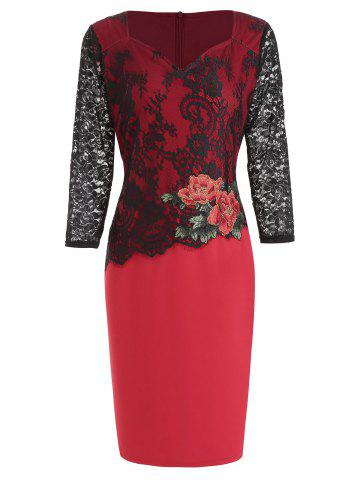 Lace Panel Flower Embroidered Bodycon Dress