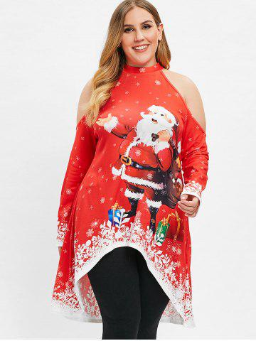 Christmas Plus Size Open Shoulder Printed High Low Top