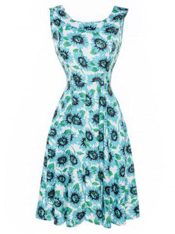 Sunflower Print Sleeveless Flare Dress