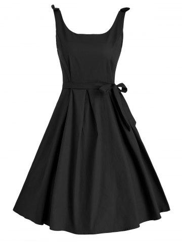 Sleeveless Bow Shoulder Belted Vintage Dress
