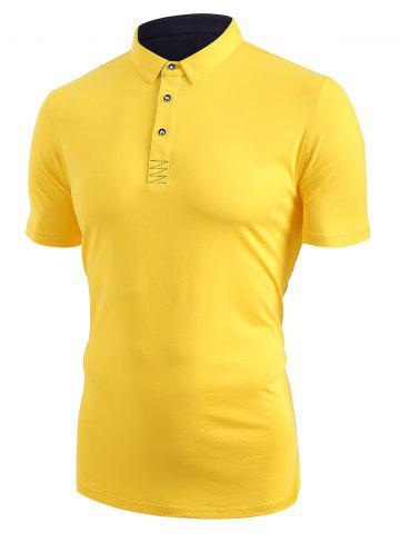 Short Sleeve Half Button T-shirt - GOLDENROD - XXS