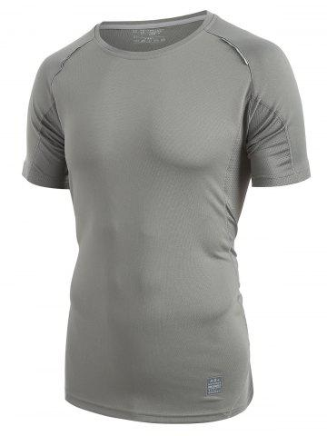 Breathable Raglan Sleeve T-shirt - GRAY - XXS