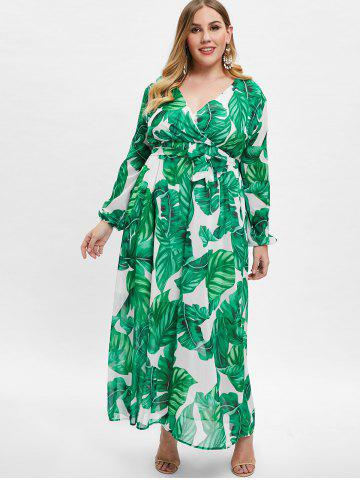 Wrap Leaves Print Long Sleeve Plus Size Dress