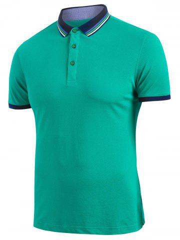 Striped Trim Short Sleeve Turndown Collar T-shirt - MEDIUM SEA GREEN - XXS