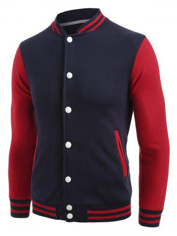 Color Block Button Up Striped Baseball Jacket