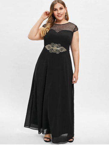 Cap Sleeve Plus Size Fishnet Maxi Dress
