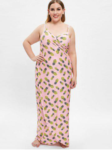 Pineapple Print Beach Plus Size Cover Up Dress