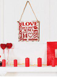 Valentine's Day Letter Pattern Wooden Hanging Sign -