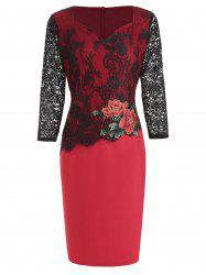 Lace Panel Flower Embroidered Bodycon Dress -