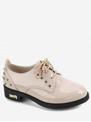 Patent Leather Studded Lacing Shoes -