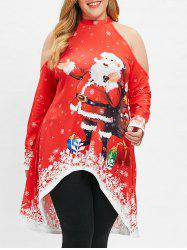 Christmas Plus Size Open Shoulder Printed High Low Top -