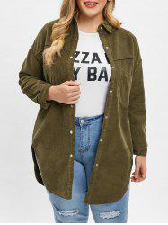 Plus Size Pockets Tunic Corduroy Shirt -